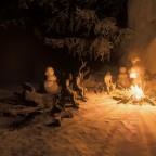 Lagerfeuer mit Waidler und Nudel